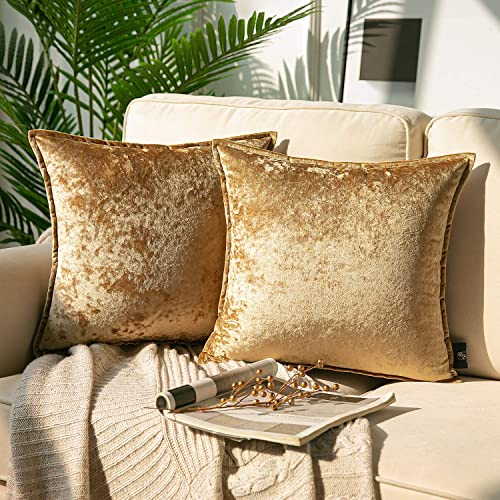 new arrival Phantoscope Pack of online sale 2 Shiny Crushed Velvet with outlet sale Trim Square Throw Pillow Covers Cushion Cover Pillowcase for Couch Bed and Chair, Gold 18 x 18 inches 45 x 45 cm outlet online sale