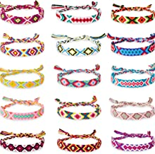 Hicarer 15 Pieces Woven Friendship Bracelets Colorful Handmade Braided Thread Bracelet for Women Girls Favor