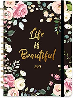 """2021 Planner - Weekly & Monthly Planner, 6.4"""" x 8.5"""", January 2021 - December 2021, Flexible Hardcover with Strong Golden ..."""