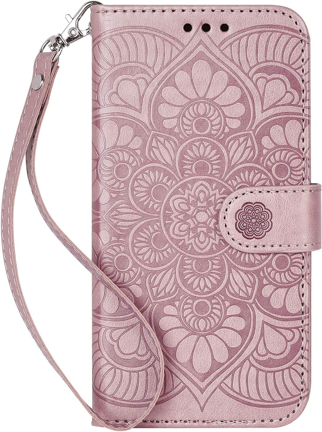 Ateeky iPhone 12 Mini Wallet Case, [Stand Feature] Protective PU Leather Flip Cover with Credit Card Slot[Side Cash Pocket (Rose Gold)