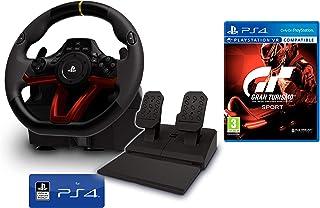Volante y Pedales PS4 Inalámbrico [Nuevo Modelo] Licencia Oficial Sony Playstation 4 + Gran Turismo PS4 GT Sport