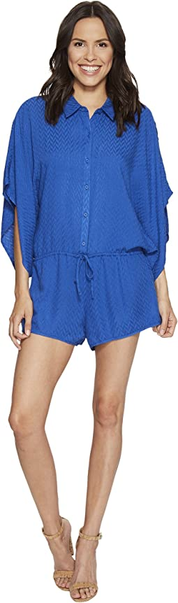 Caspian Chevron Dobby Button Up Romper