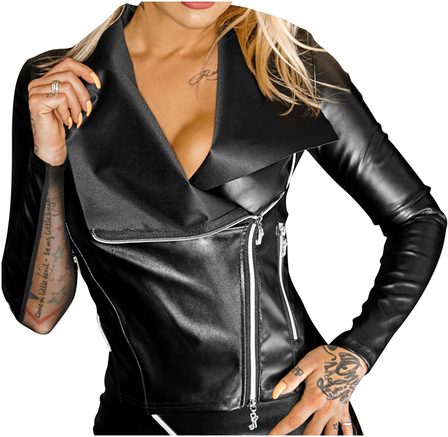 black Handmade Women's Jacket in Wetlook