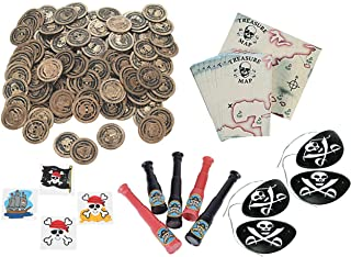 228 Pirate Party Favor Set- Pirate Coins, Maps, Telescopes, Tattoos, and Eyepatches