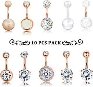 Finrezio 10 PCS 14G Surgical Steel Belly Button Ring Navel Ear Rings CZ Body Piercing Jewelry