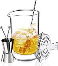 Crystal Cocktail Mixing Glass Bar Set: 24oz 710ml Bar Pitcher Thick Wall Lead Free | Stainless Spiral Bar Spoon & Muddler | Cocktail Strainer | Garnish Picks | Jigger - Great Gift, Shaker Alternative!
