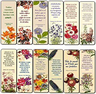 Spanish Flower Bookmarks Scriptures Series 3 (30 Pack) - RVR1960 Handy Reminder for Everyday Life with Spanish Bible Verses - War Room Decor Encouragement Gifts for Christian Church Supplies