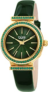 Burgi Swarovski Colored Crystal Studded Bezel - Genuine Patent Leather Strap, Fine Guilloche Pattern Dial Designer Women's Watch - BUR243