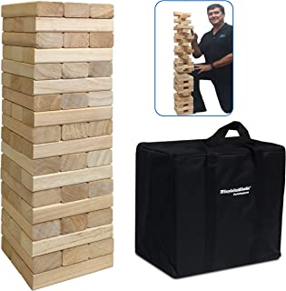 EasyGoProducts 54Piece Giant Wood Block Stack & Tumble Tower Toppling Blocks Game– Great for Game Nights for Kids, Adults & Family –Storage Bag