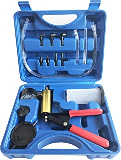GooMeng 2 in 1 Hand Held Vacuum Pump Tester Set Vacuum Gauge and Brake Bleeder Kit for Automotive with Adapters and Carrying Case, Brake and Clutch Bleeding System