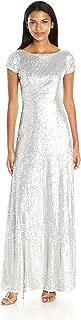 Women's Short Sleeve Matte Sequin Long Dress
