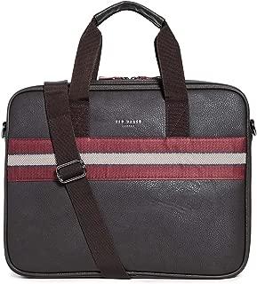 Men's Sandar Briefcase, Chocolate, Brown, Stripe, One Size