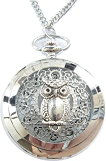 Ancient Silver The Owl Pocket Watch Necklace Vintage Pocket Watch