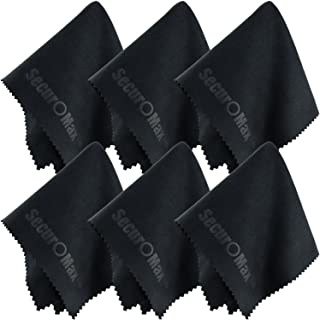 SecurOMax Black Microfiber Cleaning Cloth 8x8 Inch, 6 Pack