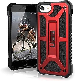 Urban Armor Gear Monarch Hülle Apple iPhone SE (2020) / 8 / 7 / 6S Schutzhülle (Wireless Charging kompatibles Cover, Sturzfeste Handyhülle, Ultra Slim Bumper, Leder)   rot