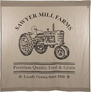 VHC Brands Sawyer Mill Charcoal Farmhouse Tan Textured Fabric Shower Curtain Bathroom Decoration 72x72