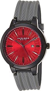 Akribos XXIV Men's Tire Tread Design - Unique Dial and Pattern On Comfortable Silicone Strap Watch - AK1007