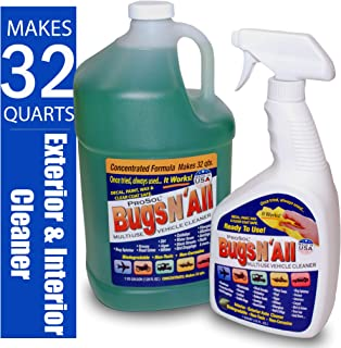 Bugs N All 1 Gal. Concentrate Makes 32 Qts. Pre-Wash Vehicle Cleaner - Bug Splatter and Black Streak Remover. Includes an Empty 32 oz. Spray Bottle - Will Not Remove Wax!