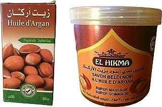 EL HIKMA Gommage au Savon noir à l'Argan bio 250gr pour le corps + huile d'argan HERBO RIDOUANE corps et cheveux 30ml savo...