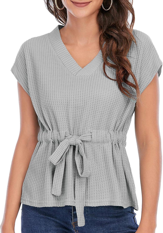 Women Casual Blouse Waffle Knit Vest Tunic Sleeveless Shirt Twist Knot Tank Tops