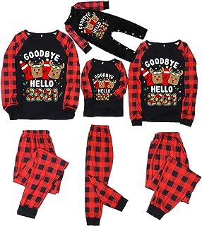 Pijamas Navidad Familia - Good Bye 2020 Hello 2021 - Conjunto de Dos Piezas a Cuadros Rojo y Negro - para Mujer Hombre Niño Niña Bebe Pareja