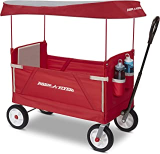 Radio Flyer 3 in 1 Off-Road EZ Fold Wagon with Canopy, Red