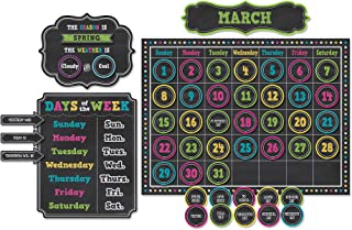 Teacher Created Resources TCR5615 Chalkboard Brights Calendar Bulletin Board Set, Paper, Multi