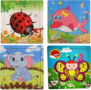 OMGOD Kids Puzzles Toys 4 Pack, 16pcs Wooden Animals Elephant Bee Dolphins Ladybugs Fancy Education and Learning Intellige...