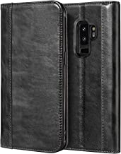Procase Galaxy S9 Plus Genuine Leather Case, Vintage Wallet Folding Flip Case with Kickstand, Card Holder, Magnetic Closure Protective Cover for Galaxy S9+ 2018 Release -Black