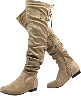 86dde3836a629 Amazon.com: Beige - Over-the-Knee / Boots: Clothing, Shoes & Jewelry