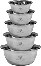 Stainless Steel Mixing Bowl Set by House of Ace's - Kitchen Bowls for Cooking Baking Serving Food at Home - Cookware Metal Sets Large to Small Quart for Bread Prep Salad Easy Mixer and Great Gift