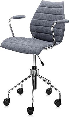 Maui Soft - Silla de oficina con reposabrazos gris/tela Trevira/regulable en altura