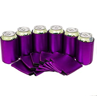 QualityPerfection - Neoprene Can Cooler Sleeve - 12 oz Regular Can Coolie - Collapsible Economy Bulk Insulation with Stitches Perfect 4 Events,Custom DIY Projects (6, Metallic Purple)
