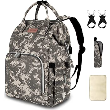Diaper Bag Backpack with USB Charging Port Stroller Straps Insulated Pocket and Changing Pad, Tactical Advantage Travel Baby Bag Nappy Backpack for Dad/Boy/Mom/Girl/Toddler, Camouflage by Qwreoia