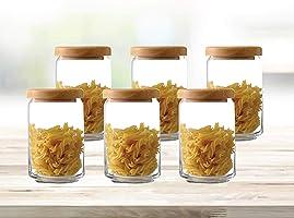 وعاء لحفظ الطعام من أوشن جلاس مع غطاء خشبي ، عبوة من 6 قطع ، شفاف ، 750 مل ، B0252606
