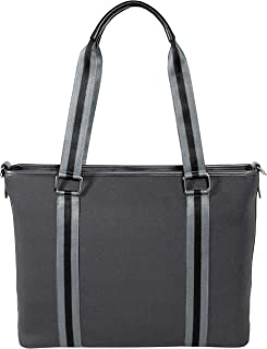 BFB Neoprene Laptop Bag for Women - No More Boring Briefcases - Here's a 17 Inch Computer Bag That's Lightweight and Stylish - Look and Feel Great Carrying This Designer Business Shoulder Bag - Grey