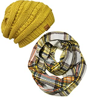 Wrapables Plaid Print Winter Infinity Scarf and Beanie Hat Set, Tan and Orange