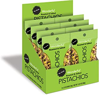 Wonderful Pistachios, No-Shell, Roasted and Salted, 2.5 Ounce Bag (Pack of 8)