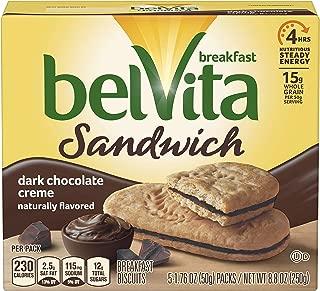 belVita Dark Chocolate Creme Breakfast Biscuit Sandwiches (5 Count Box, 8.8 oz)