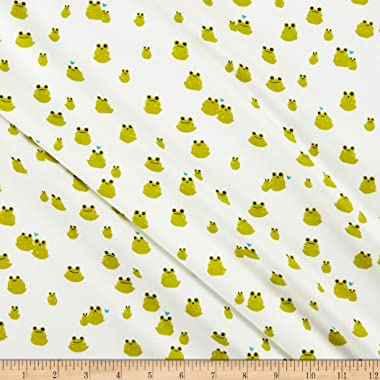 Cotton + Steel Front Yard Jersey Knit Frogs Fabric, Cream, Fabric By The Yard