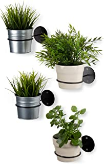 Wallniture Wall Mounted Metal Bracket for Holding Planters and Flower Pots 4 Inches Diameter Black Set of 4
