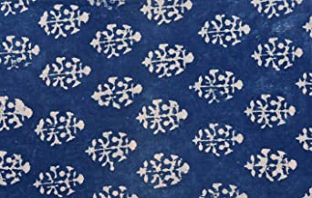 Handicraft-Palace Floral Hand Block Printed Fine Quality Fabric Womens Clothing Dress Dabu Print Fabric Vegetable Color Dress Making Voile Fabric (Indigo Blue)