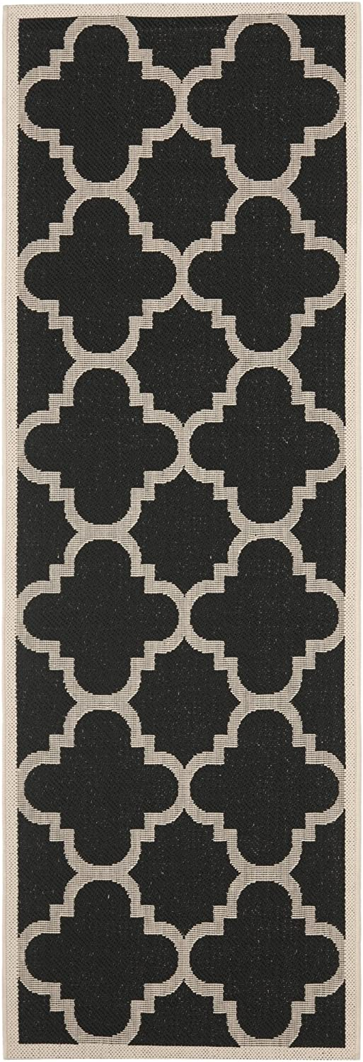 Safavieh Courtyard Collection CY6243-266 Black and Beige Indoor Outdoor Runner, 2 feet 3 inches by 10 feet (2'3  x 10')