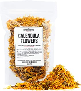Calendula Whole Dry Flowers for Tea, Baking, Crafts, Sachets, Baths, Yoni Steams, Oil Infusions, Tinctures - 4oz in Resealable, Recyclable Pouch - by Better Shea Butter