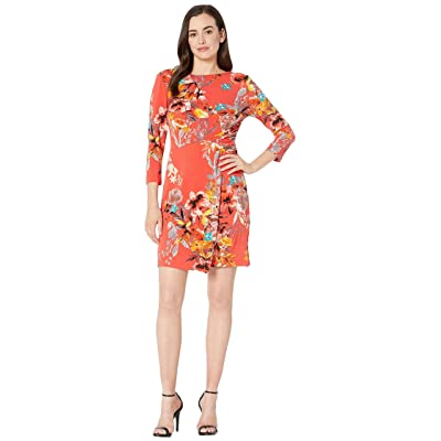 eci Floral Printed Knit Overlayed Dress (Red) Women