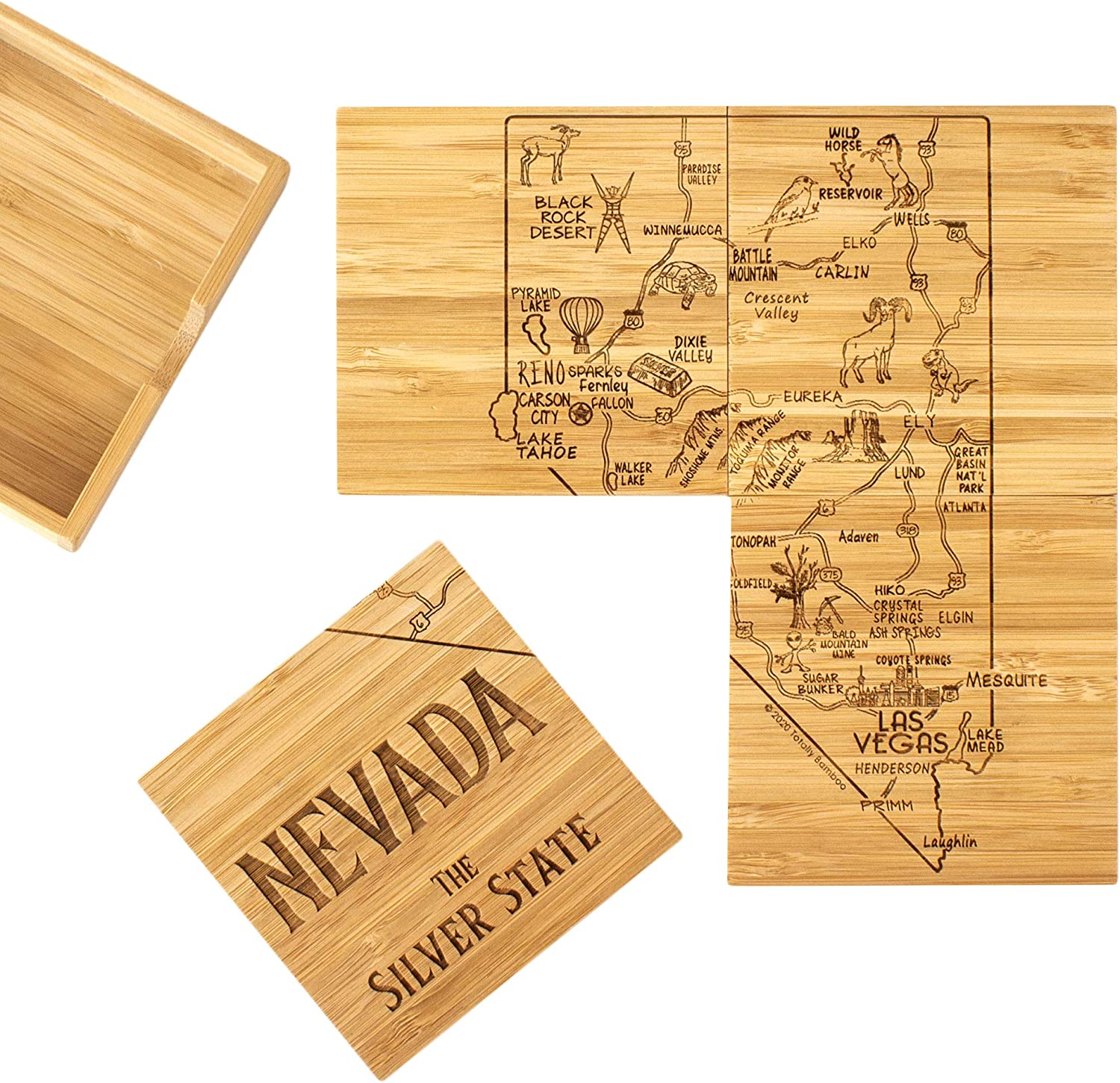 Totally Bamboo Nevada State Puzzle 4 Piece Bamboo Coaster Set with Case