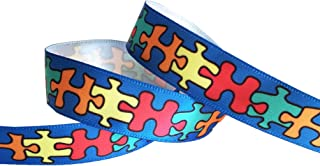 HipGirl Autism Awareness Ribbon, Autism Awareness Products, Jigsaw Puzzle Ribbon for Gift Package Wrapping, Hair Bow Clips, Crafting, Fundraiser Walk/Run (5yd 5/8