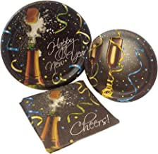 New Years Pop Supply Pack! Bundle Includes Paper Plates & Napkins for 8 Guests