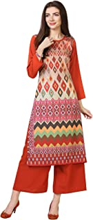 Florence Women's Multicolor Crepe Digital Print Stitched Palazzo Kurta(FL-KT-153-PZ-04)