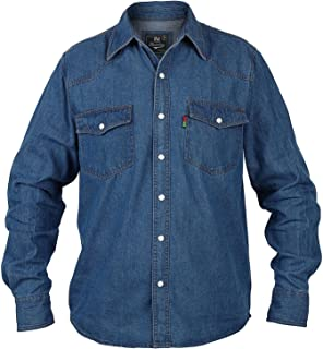 Coolred-Men Vintage Plus-Size Easy Care Long Sleeves Jean Shirt
